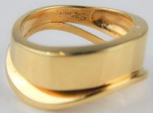 VENTO 18K YELLOW GOLD MODERNIST WAVE RING Sz 8.25