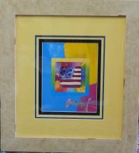 ORIGINAL PETER MAX AMERICAN FLAG ACRYLIC ON PRINT