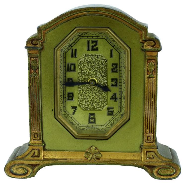 Sold Price Vintage Art Deco Greek Gilt Metal Desk Clock April 6 0118 1 00 Pm Edt