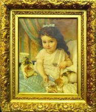 1f021c7da6f8 EMILE MUNIER (FRANCE 1840-1895) OIL OF GIRL w CATS