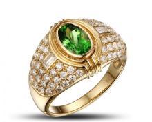 18k Yellow Gold 1.20ct Tsavorite 1.29ct Diamond Ring
