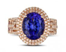 18k Rose Gold 2.95ct Tanzanite and Diamond Ring