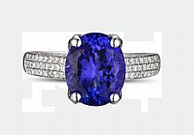 18k White Gold 2.95ct Tanzanite and Diamond Ring