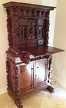 Antique Hand Carved German Secretary Cabinet