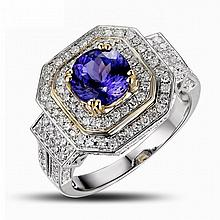 18k Two-Tone Gold 1.46ct Tanzanite 1.08ct Diamond Ring