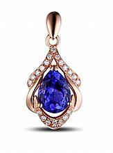 14k Rose Gold 1.36ct Tanzanite and Diamond Pendant