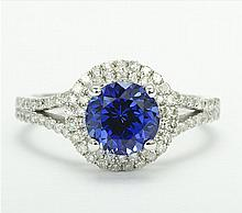 14k White Gold 1.52ct Tanzanite and Diamond Ring