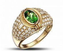 18k Yellow Gold 1.20ct Tsavorite 1.29ct Diamond Ring