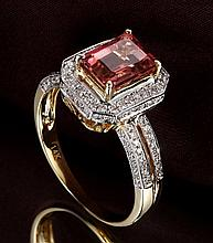 14k Two-Tone Gold 2.12ct Tourmaline and Diamond Ring