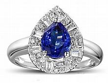 18k White Gold 1.41ct Tanzanite and Diamond Ring