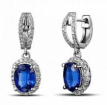 14k White Gold 2.80ct Blue Kyanite and Diamond Earrings