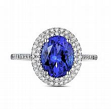 14k White Gold 2.02ct Tanzanite Diamond Ring