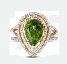 14k Yellow Gold 4.85ct Peridot and Diamond Ring