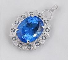 14k White Gold 25.5ct Topaz and Diamond Pendant