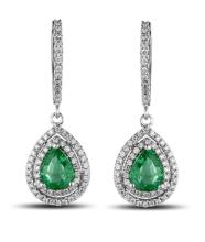14k White Gold 1.49ct Emerald and Diamond Earings