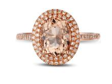 14k Rose Gold 2.21ct Morganite Diamond Ring