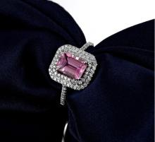 18k White Gold 2.01ct Tourmaline and Diamond Ring