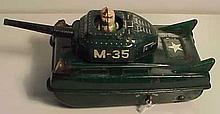 Old Tin Lithograph Marx Battery Operated Tank