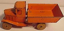 Early Pressed Steel Wyandotte Orange Dump Truck