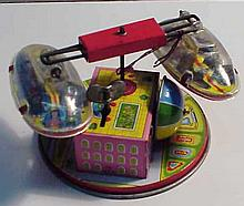 Vintage Tin Lithograph German Made Wind Up Amusement Ride