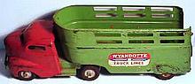 Vintage 1940s Pressed Steel Wyandotte Truck Lines Truck and Trailer