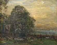 HERBERT ROYLE (1870-1958), THE SHEEP FLOCK, signed lower left, oil on canva