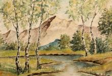 ALOIS KALVODA (CZECH, 1875-1934), LANDSCAPE WITH MOUNTAIN, signed AL KALVOD