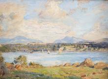 HERBERT ROYLE (1870-1958), THE MENAI STRAITS, signed lower left, oil on boa