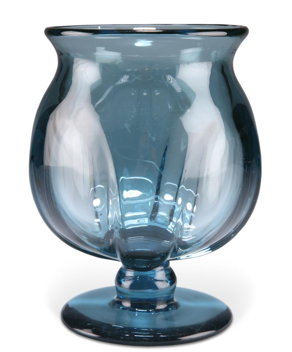 A KOSTA BLUE GLASS VASE, CIRCA 1930, designed by Elis Bergh, the dimpled bo