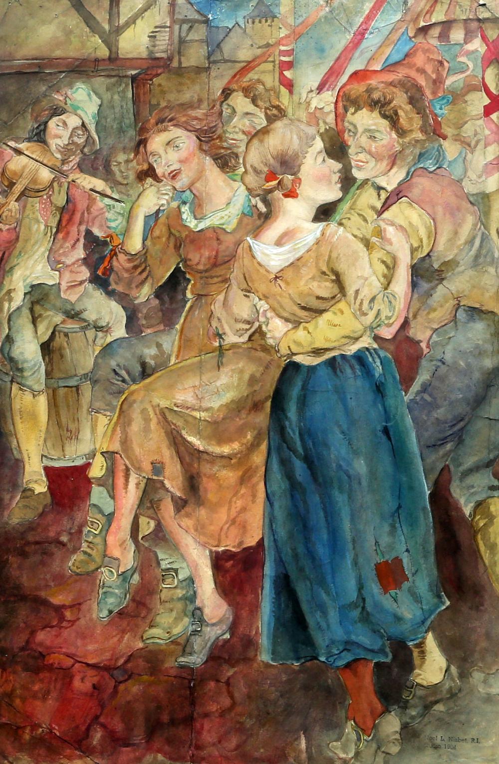 NOEL LAURA NISBET (BRITISH, 1887-1956), REVELLERS AT A COUNTRY FAIR,artist