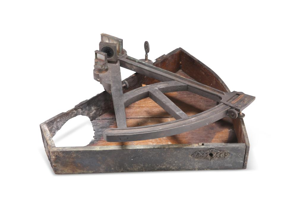 AN ENGLISH BRASS-MOUNTED EBONY SEXTANT, 19TH CENTURY, boxed. 35cm (a/f)
