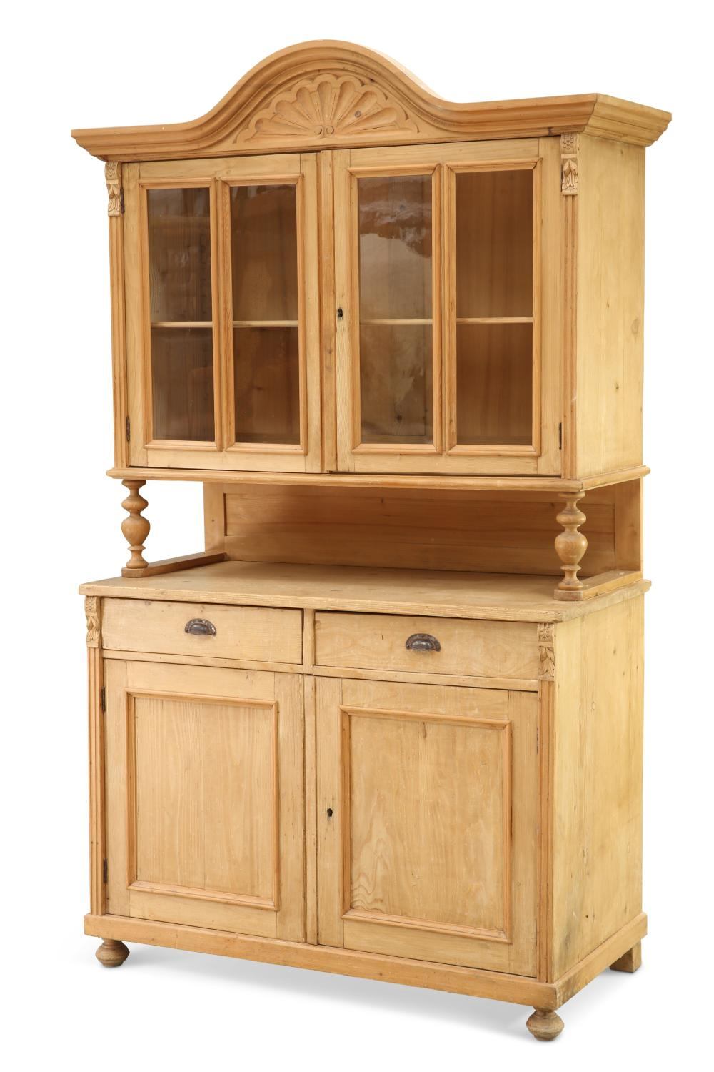 A LATE 19TH CENTURY CONTINENTAL PINE DRESSER, the upper section with arched