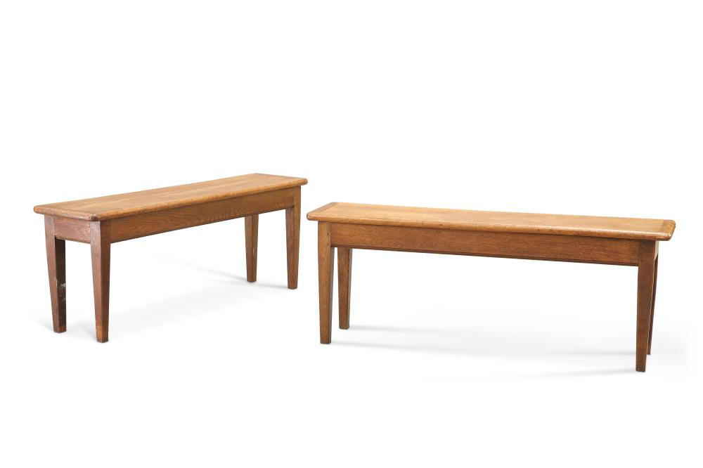 A PAIR OF EARLY 20TH CENTURY OAK BENCHES,with square-section tapering legs