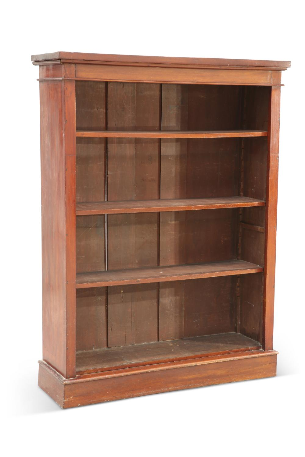 A VICTORIAN MAHOGANY OPEN BOOKCASE, with three adjustable shelves, raised o
