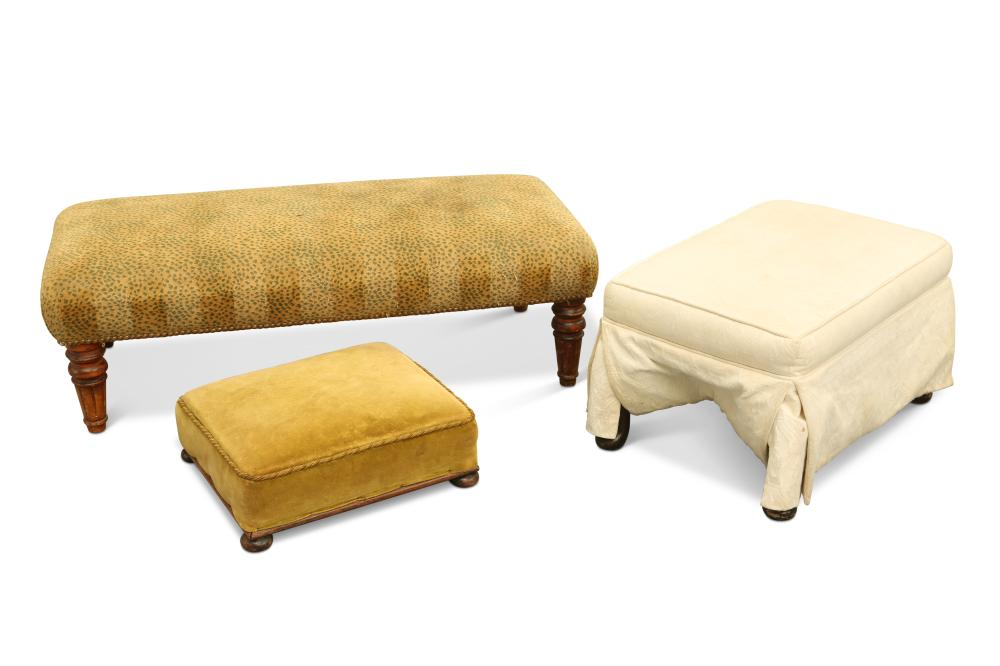 THREE COUNTRY HOUSE STOOLS, comprising: a Victorian long rectangular footst