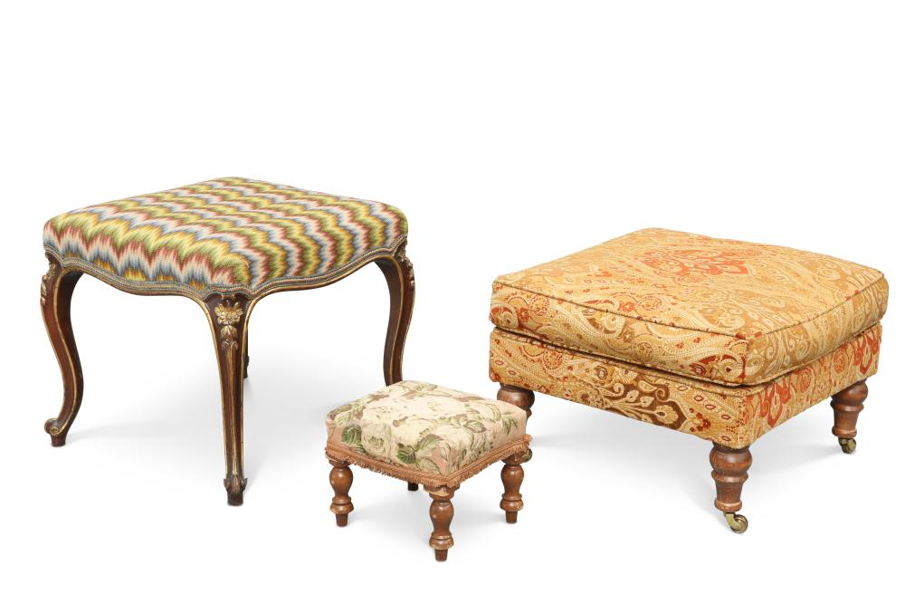 A VICTORIAN PARCEL-GILT CABRIOLE-LEG STOOL, with square upholstered seat; t