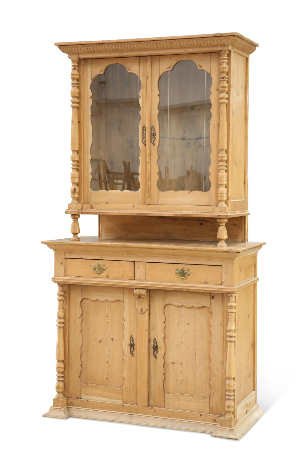 A SWISS PINE DRESSER, 19TH CENTURY, the upper section with a pair of glazed