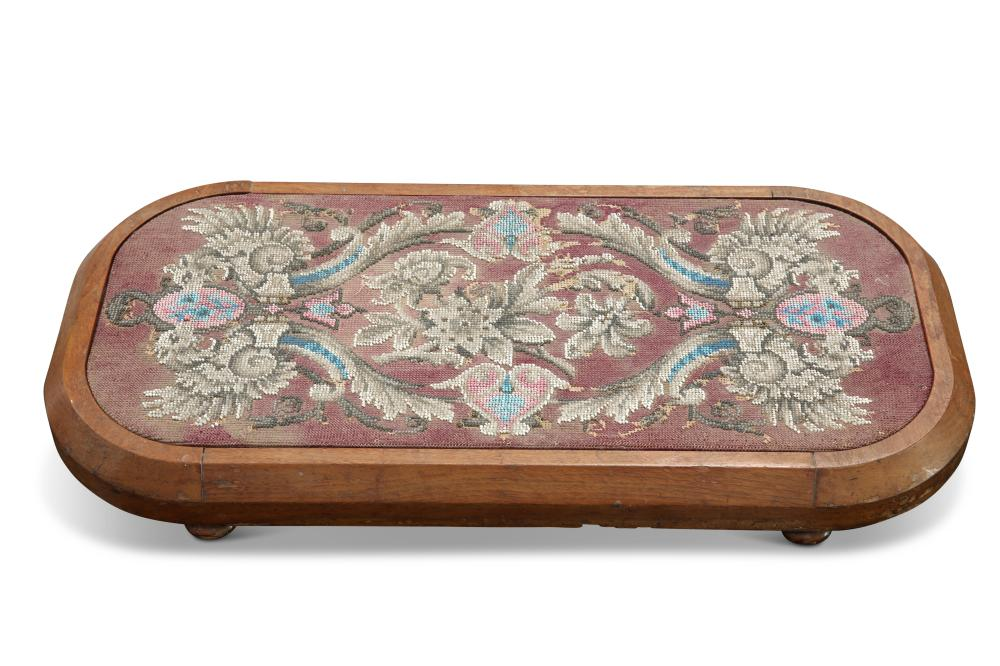 A VICTORIAN MAHOGANY AND BEADWORK FOOTSTOOL, rectangular with rounded corne