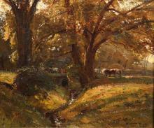 HERBERT ROYLE (1870-1958), CATTLE CROSSING A BRIDGE OVER A STREAM, SHADED B