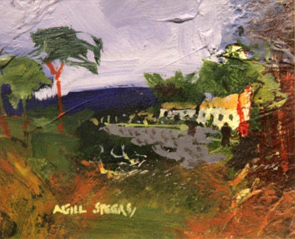 Neil Speers Mitchells Farm Oil on Card 11 x 14 cms