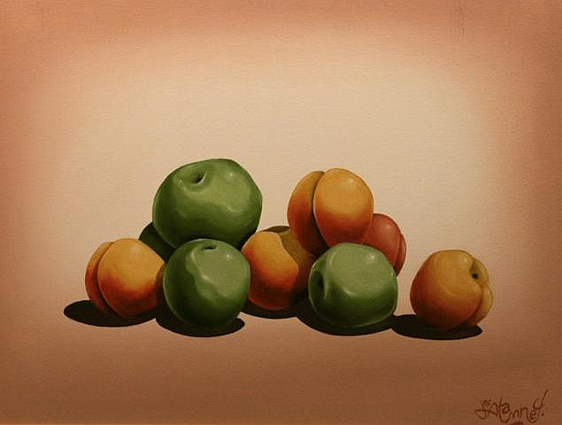 John McAtamney Cooking Apples and Peaches Oil on