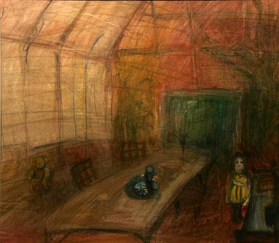 Colin Hamilton The Lone Table Mixed Media 49 x 51