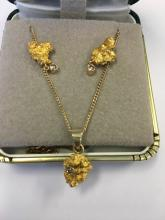 Gold Nugget Pendant and Earrings