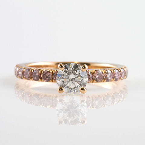 Solitaire, pink diamond engagement