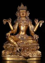 A DAMING YONGLE NIANSHI MARK GILT BRONZE BUDDHIST STATUES, MING DYNASTY