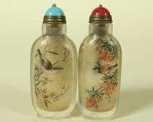PAIR OF GLASS INSIDE PAINTING SNUFF BOTTLE