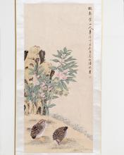 A SCROLL OF FLORAL AND BIRD PAINTING SIGNED LU, HUI
