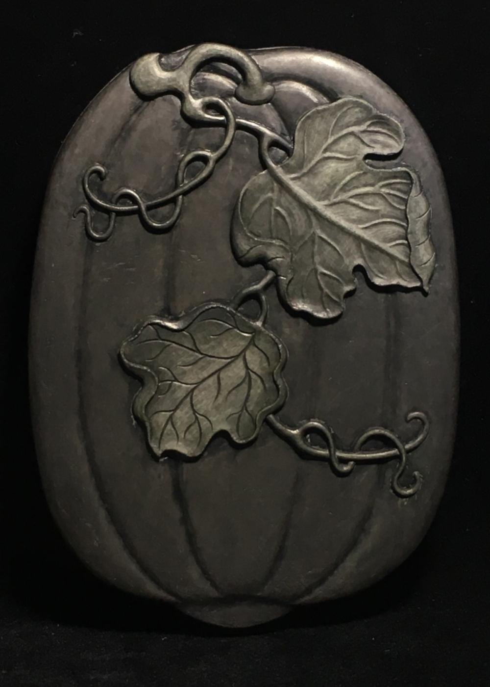A SET OF SONGHUA STONE PUMPKIN PATTERN CARVED INK SLAB WITH MARK