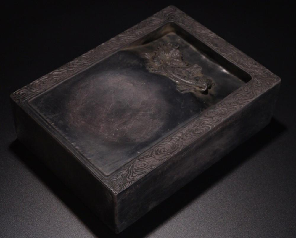 A 'ZHANG ZHI DONG' MARK DUAN STONE BAXIA BEAST & POETRY CARVED INK SLAB
