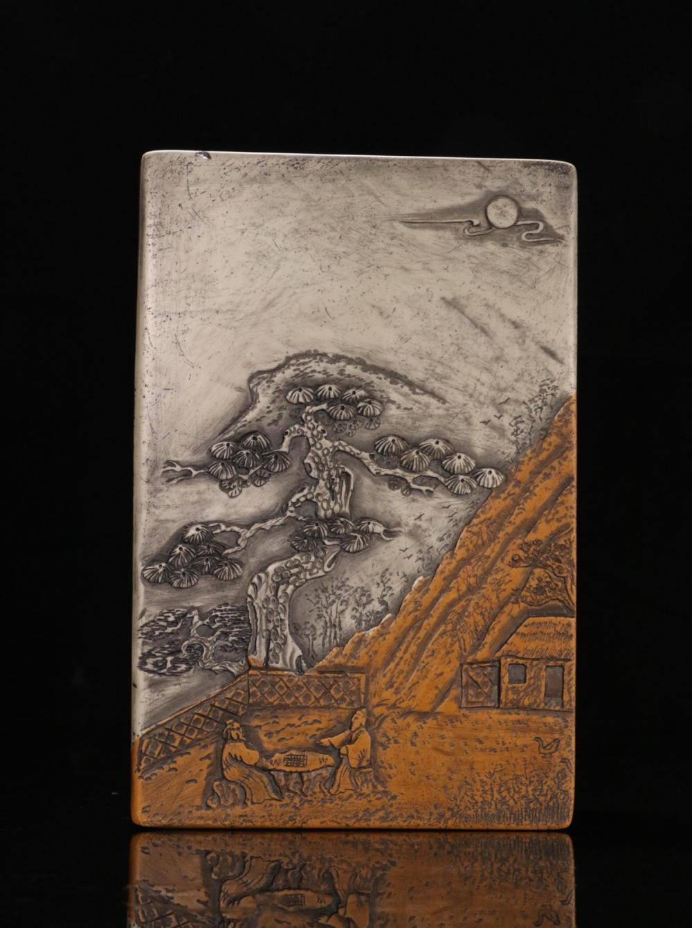 A SET OF TWO COLOR SONGHUA STONE CHARACTER STORY INK SLAB